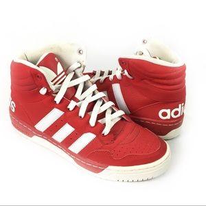 ADIDAS   high tops red men's 8 logo heel